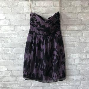 Shoshanna black purple strapless dress